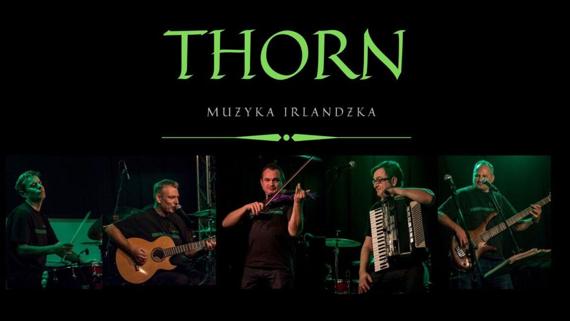 THORN muzyka Irlandzka - grafika przedstawia członków zespołu z instrumentami