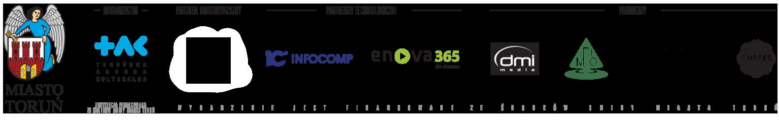 stopka sponsorska - Miasto Toruń - Toruńska Agenda Kulturalna - Toyota Bednarscy - Infocomp - enova 365 - DMI MEdia - MPO - Lenkiewicz- Grande Caffee