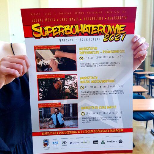 plakat wydarzenia Superbohaterowie warsztaty edukacyjne 2021 | 27.05.-16.06.2021