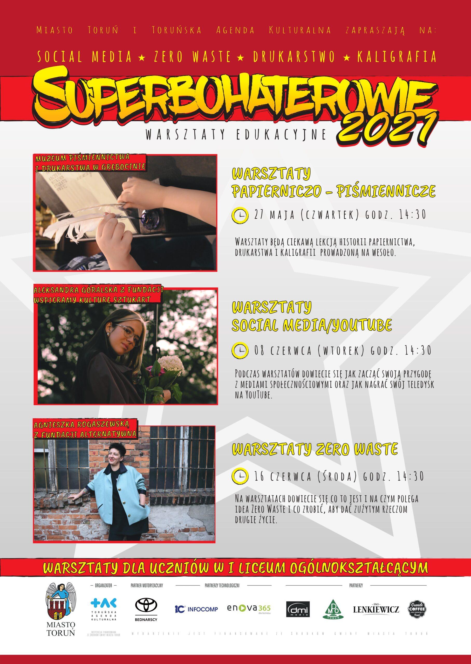 plakat informujący owydarzeniu Superbohaterowie | Superbohaterowie warsztaty edukacyjne 2021 | 27.05.-16.06.2021